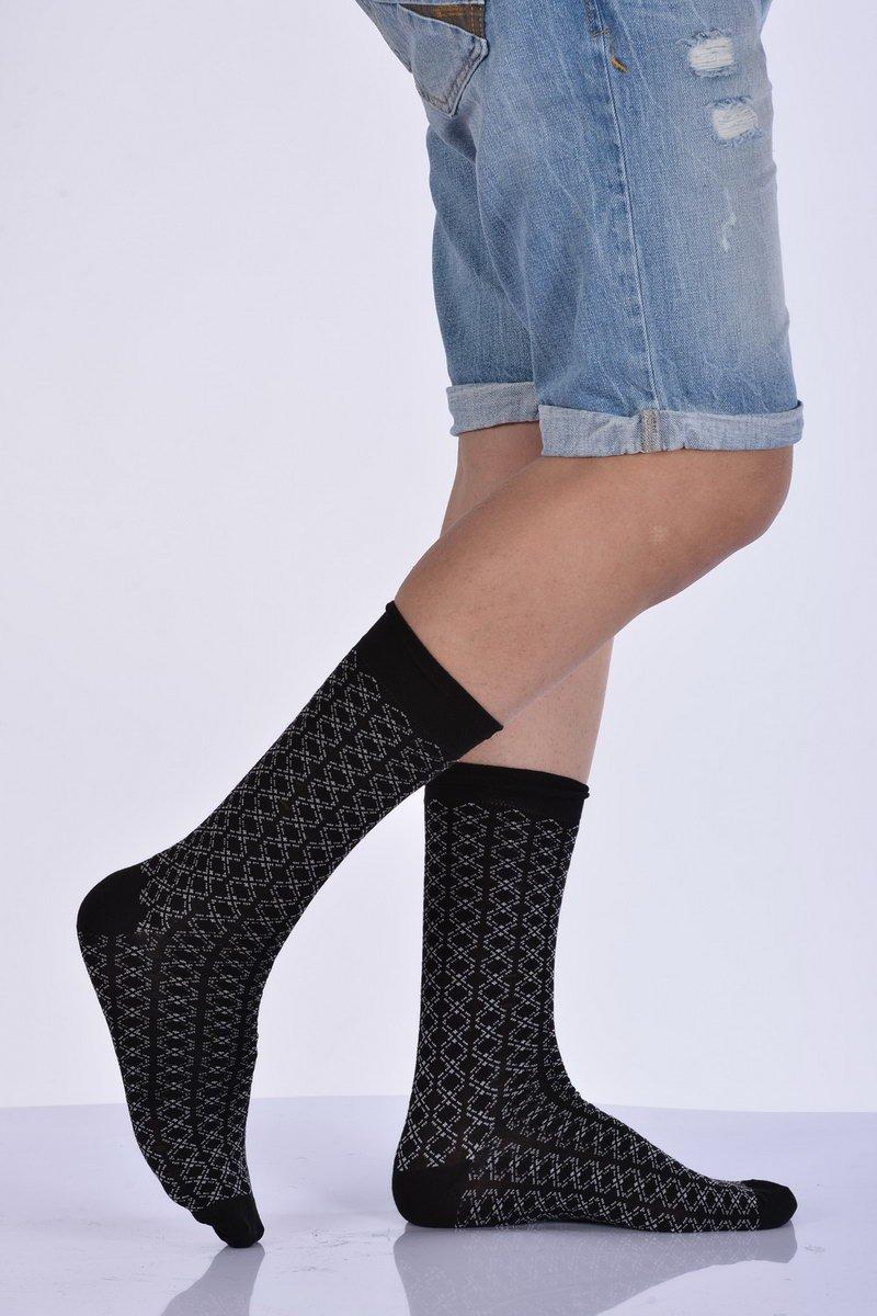 جوارب متوسطة بامبو سوداء مزخرفة رجالي- 3 أزواج