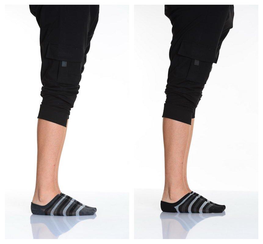 جوارب قصيرة رمادي مخطّطة رجالي- 2 أزواج