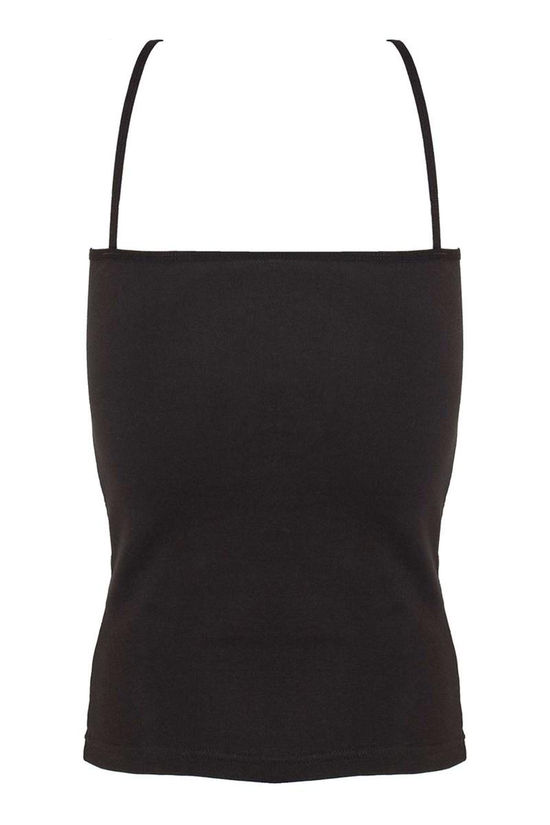 Women's Thin Strap Front Transparent Black Camisole