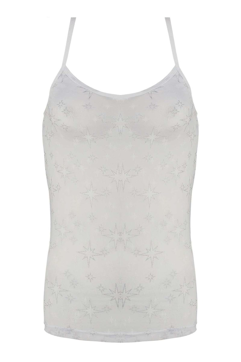 Women's Thin Strap Front Transparent White Camisole