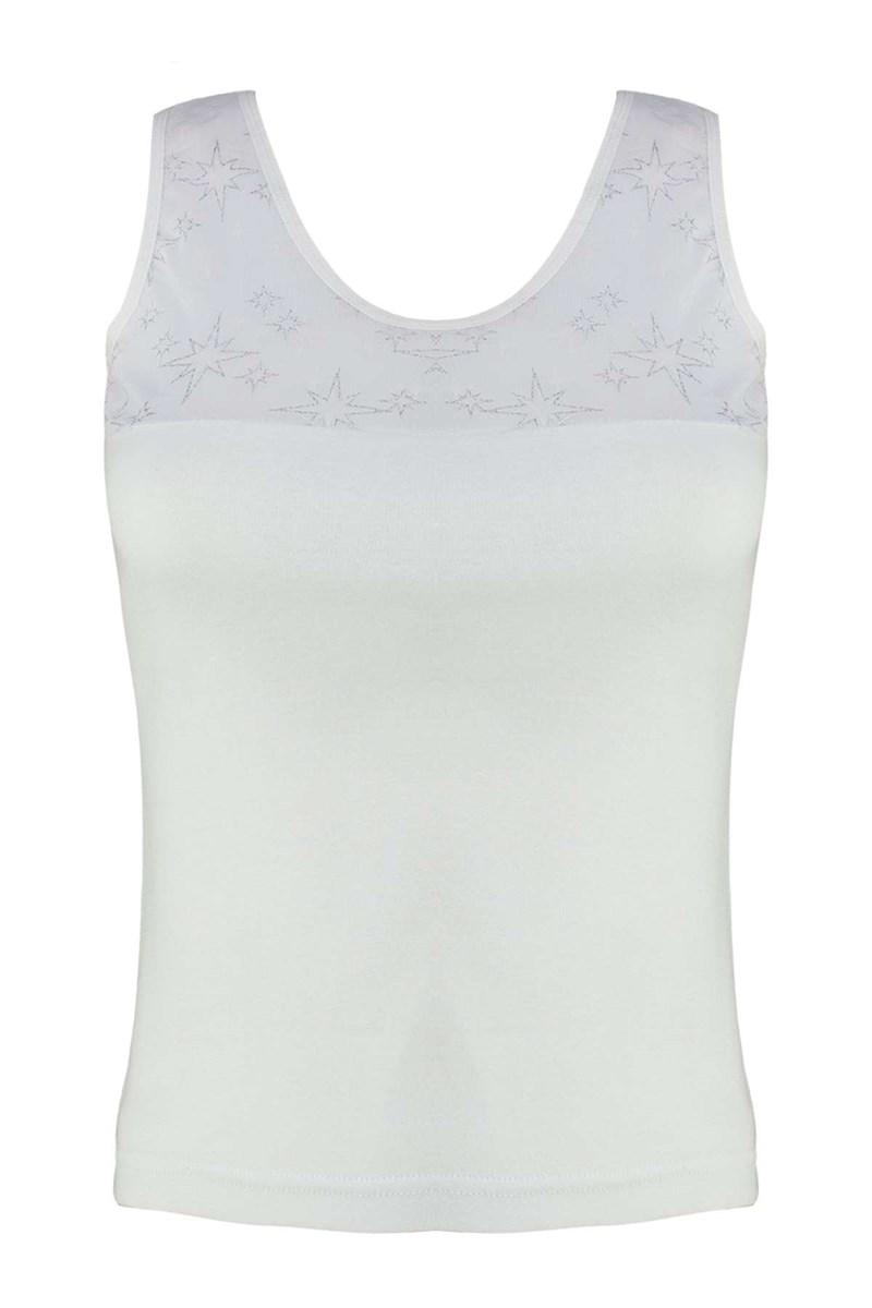 Women's Wide Strap Transparent Detail White Camisole