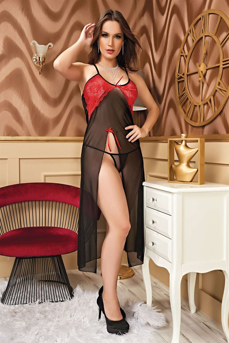 Women's Red Lace Detail Black Fantasy Nightgown