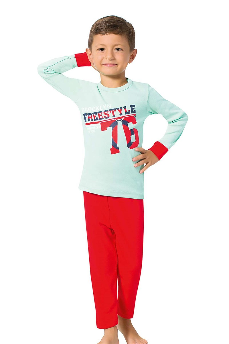 Boy's Long Sleeves Red Pajama Set