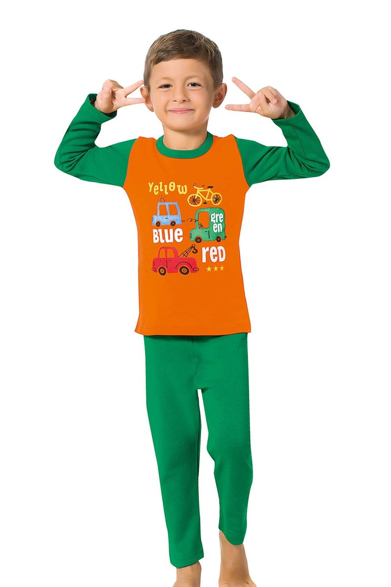 Boy's Long Sleeves Green Pajama Set