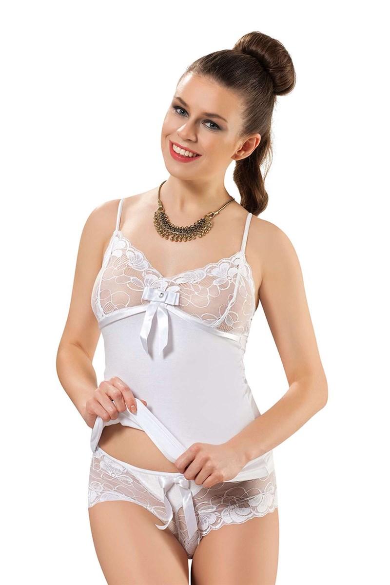 Women's White Panty & Camisole Set