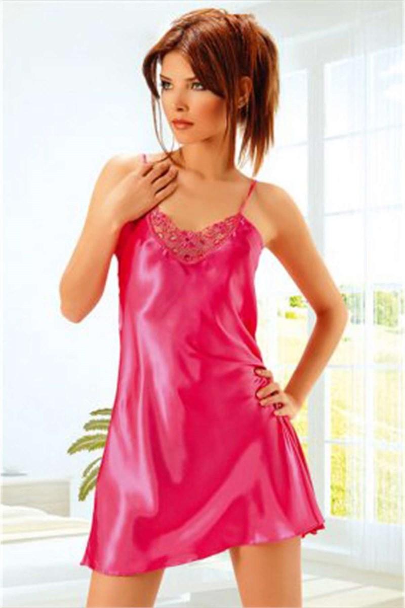 Women's Lace Detail Fuchsia Satin Nightgown