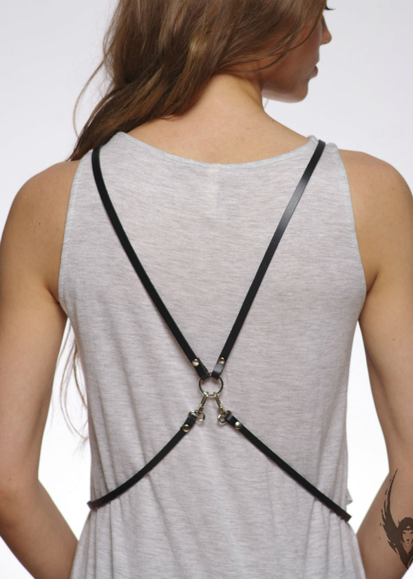 Women's Black Casual Stylish Leather Harness