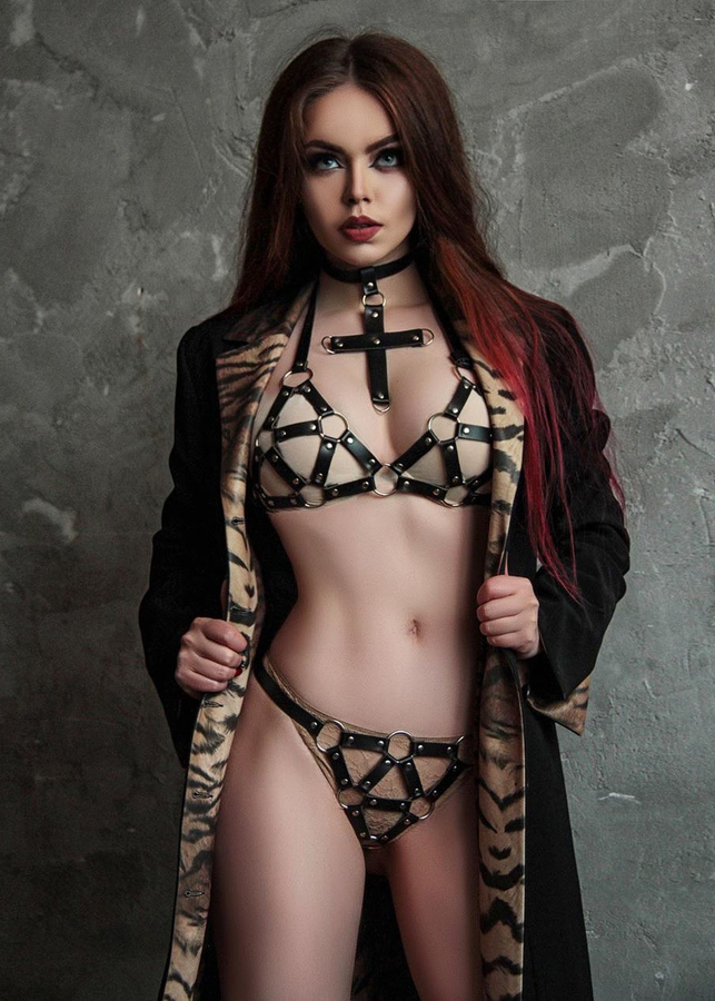 Women's Sexy Leather Bra Set