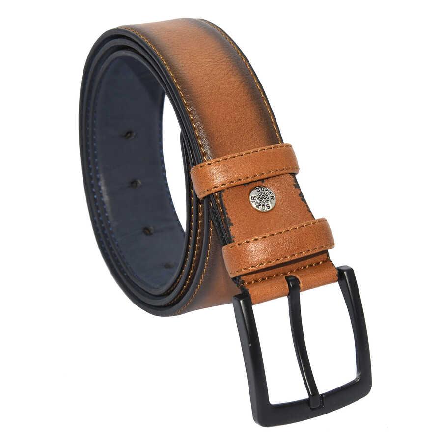 حزام كلاسيك جلد صناعي بني فاتح مخيط رجالي- 4 سم