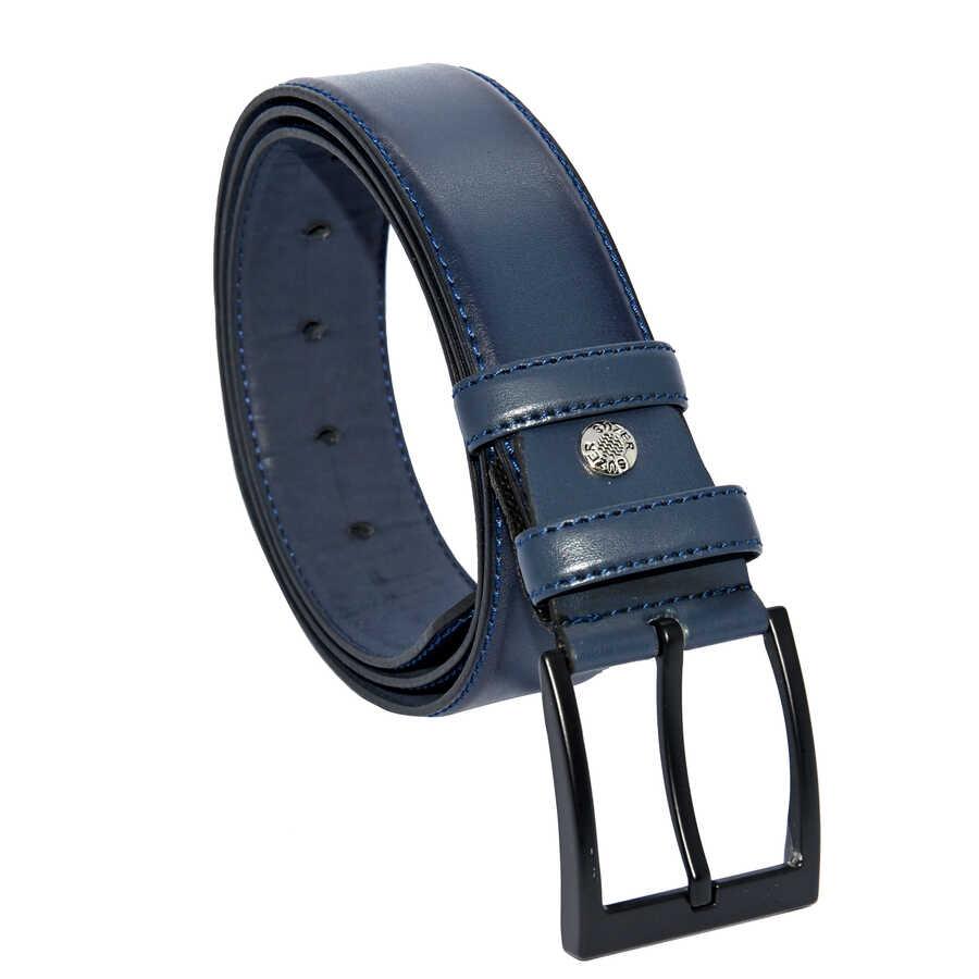 حزام كلاسيك جلد صناعي كحلي رجالي- 4 سم