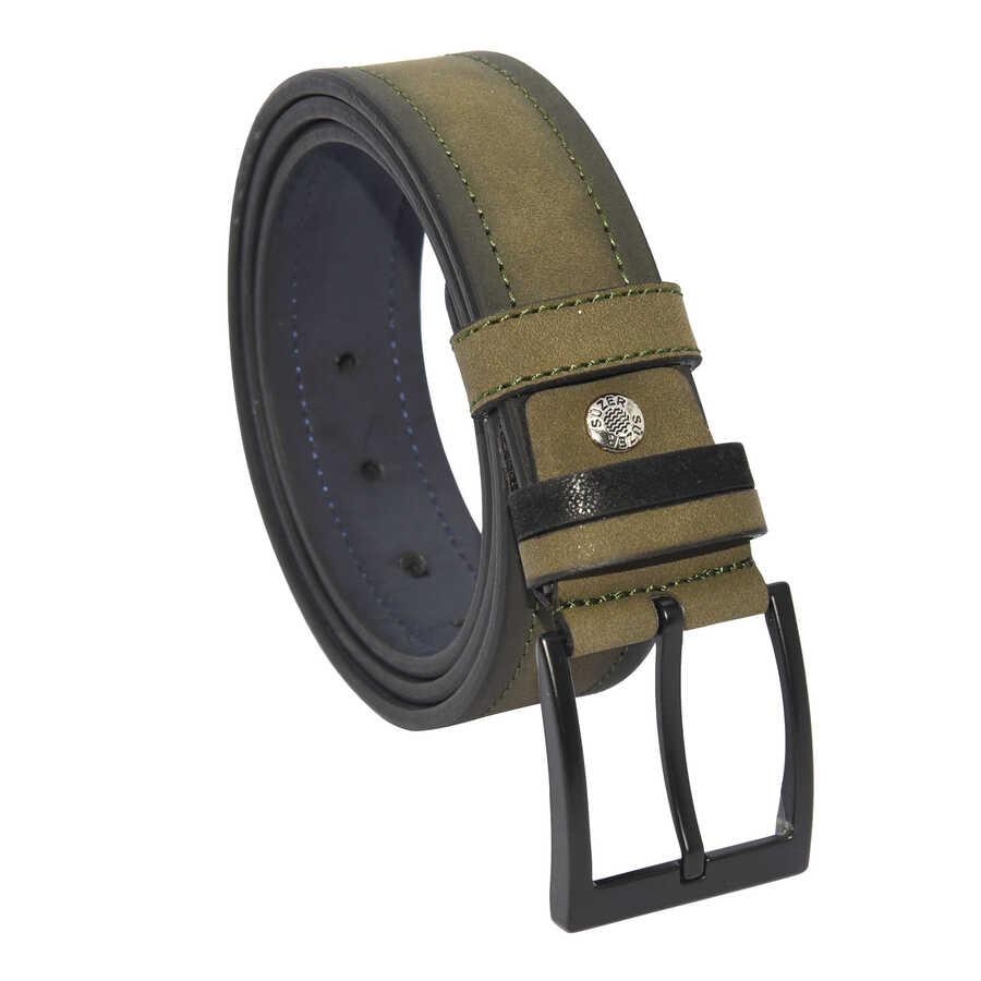 حزام رياضي جلد صناعي مفصل بجلد سويدي بني رجالي- 4 سم