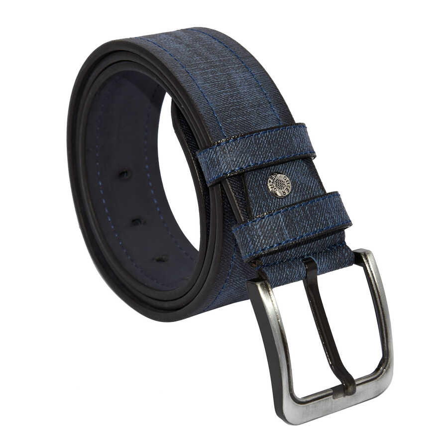 حزام رياضي جلد صناعي كحلي مزخرف رجالي- 4.5 سم