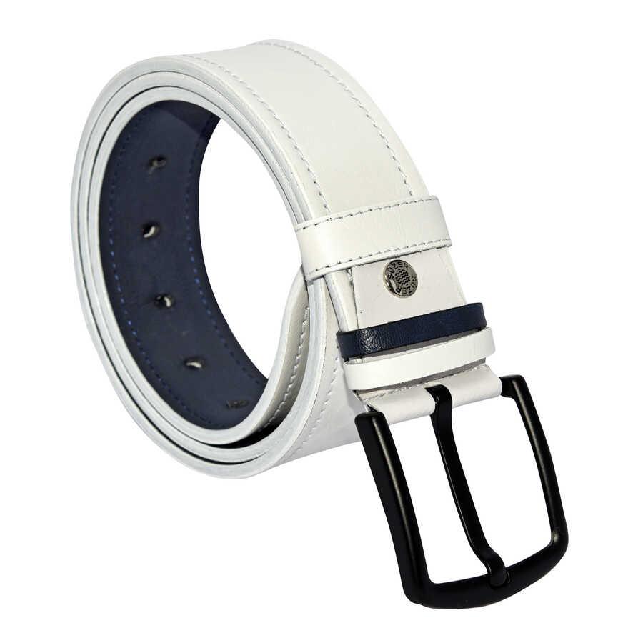 حزام رياضي جلد صناعي أبيض مخيط رجالي- 4.5 سم