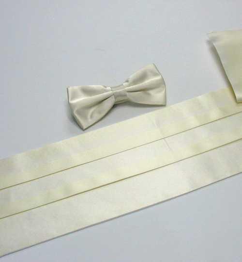 Plain Cream Satin Belt Cummerbund BowTie Pocket Handkerchief Set