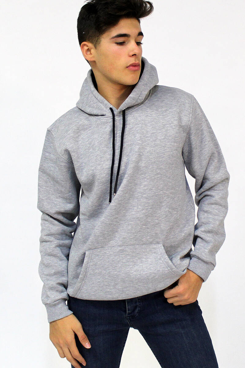 Men's Hooded Kangaroo Pocket Grey Sweatshirt
