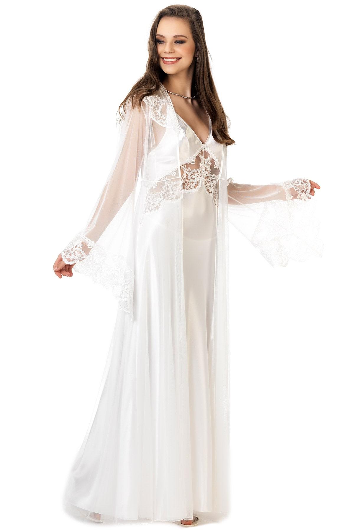 Women S Lace Detail Ecru Satin Nightgown Tulle Morning Robe Set Ana Daleel Shop