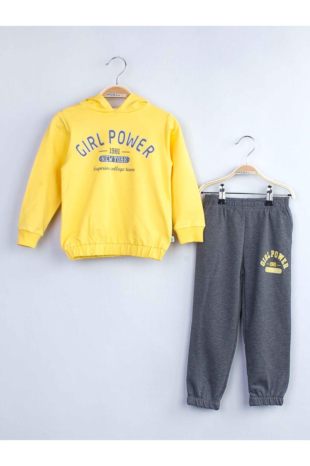 ملابس رياضية هودي رمادي أصفر بناتي