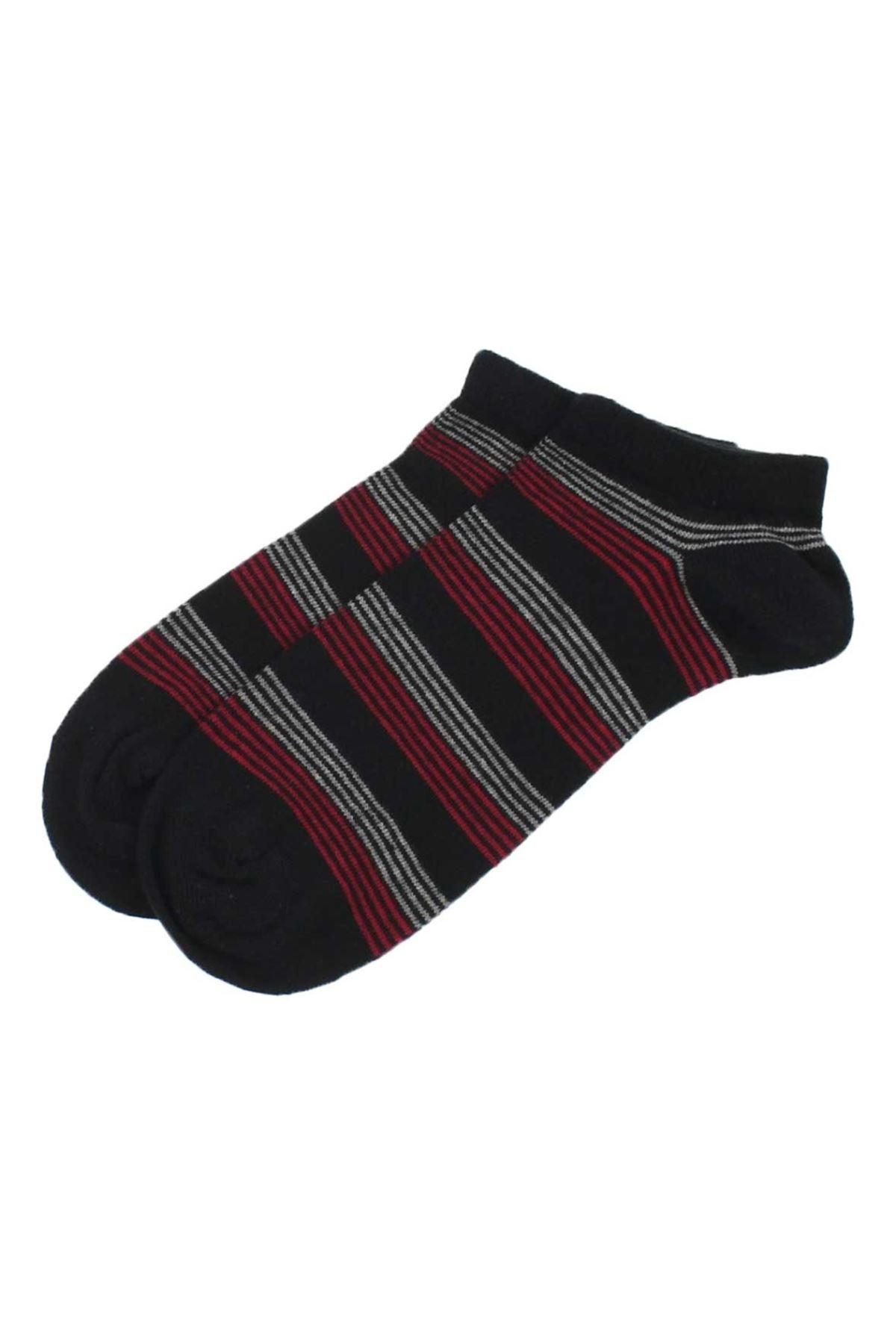 جوارب قصيرة سوداء مخططة رجالي