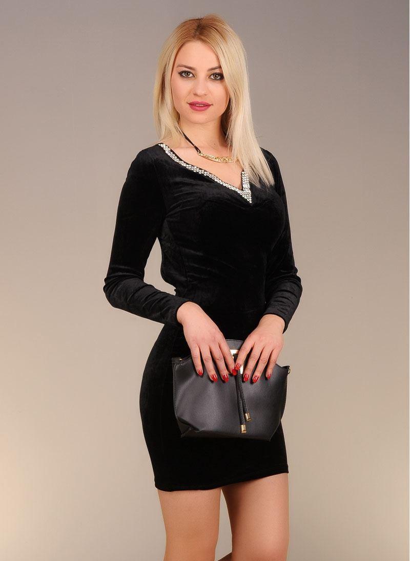 Vavin V-NECK SHORT DRESS – Black
