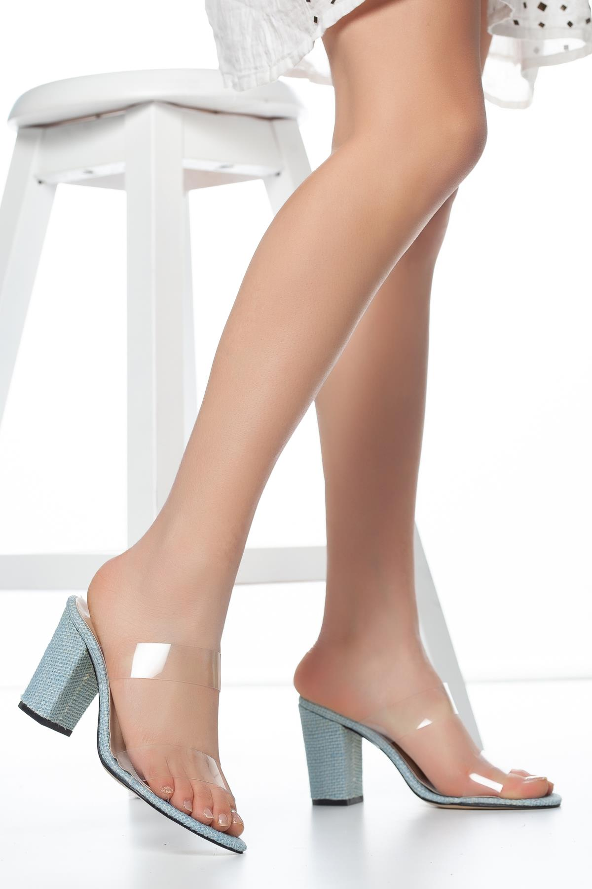 Women's Transparent Band Heeled Slippers
