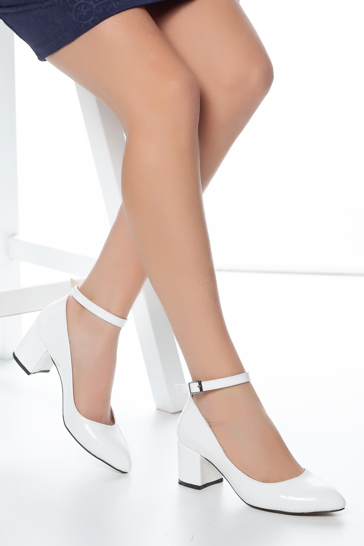 Women's Ankle Strap White Heeled Shoes