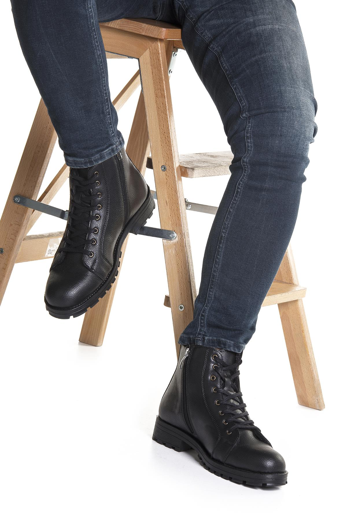 Men's Lace-up Inner Furry Cold Proof Black Boots