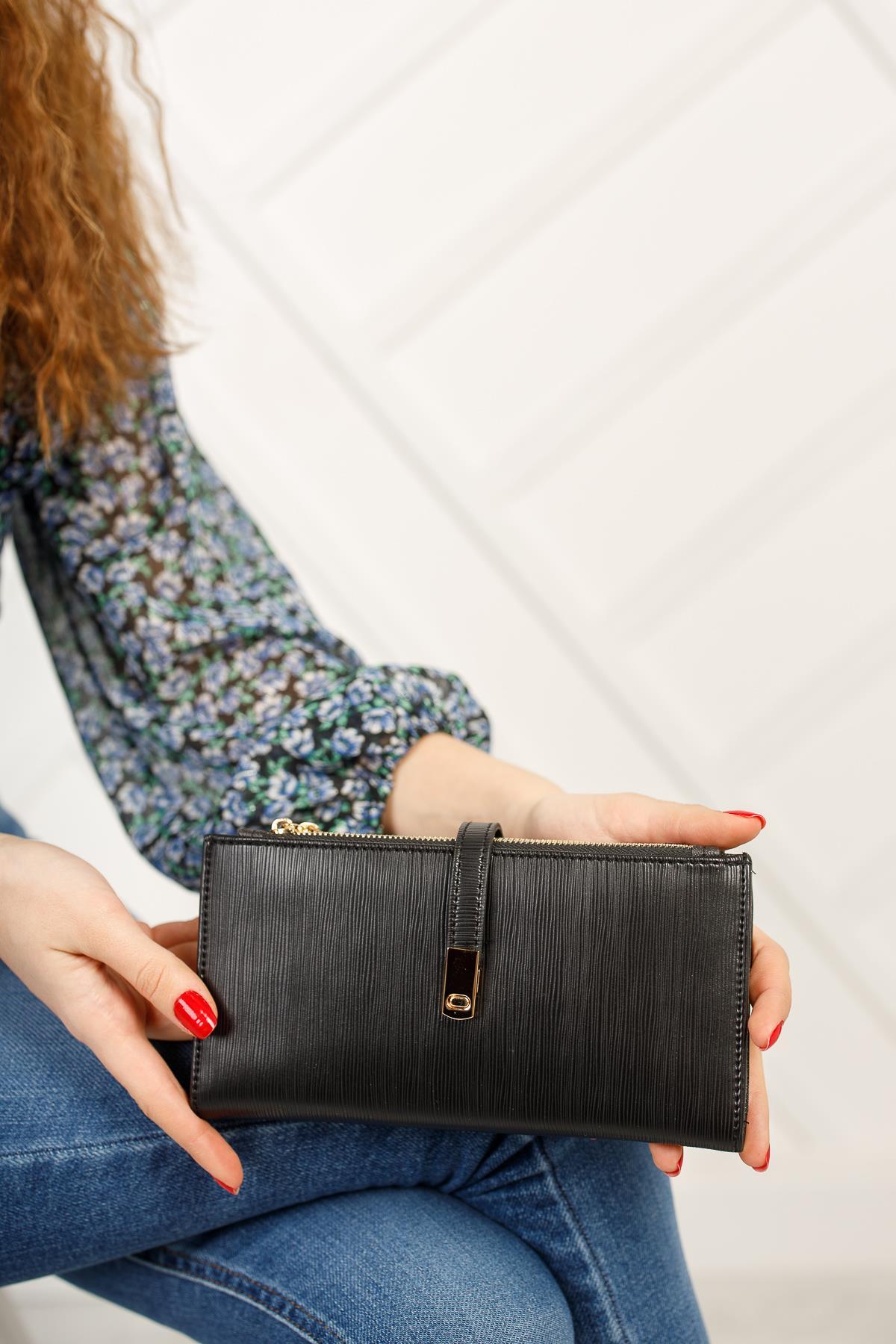 محفظة سوداء بسحاب نسائية