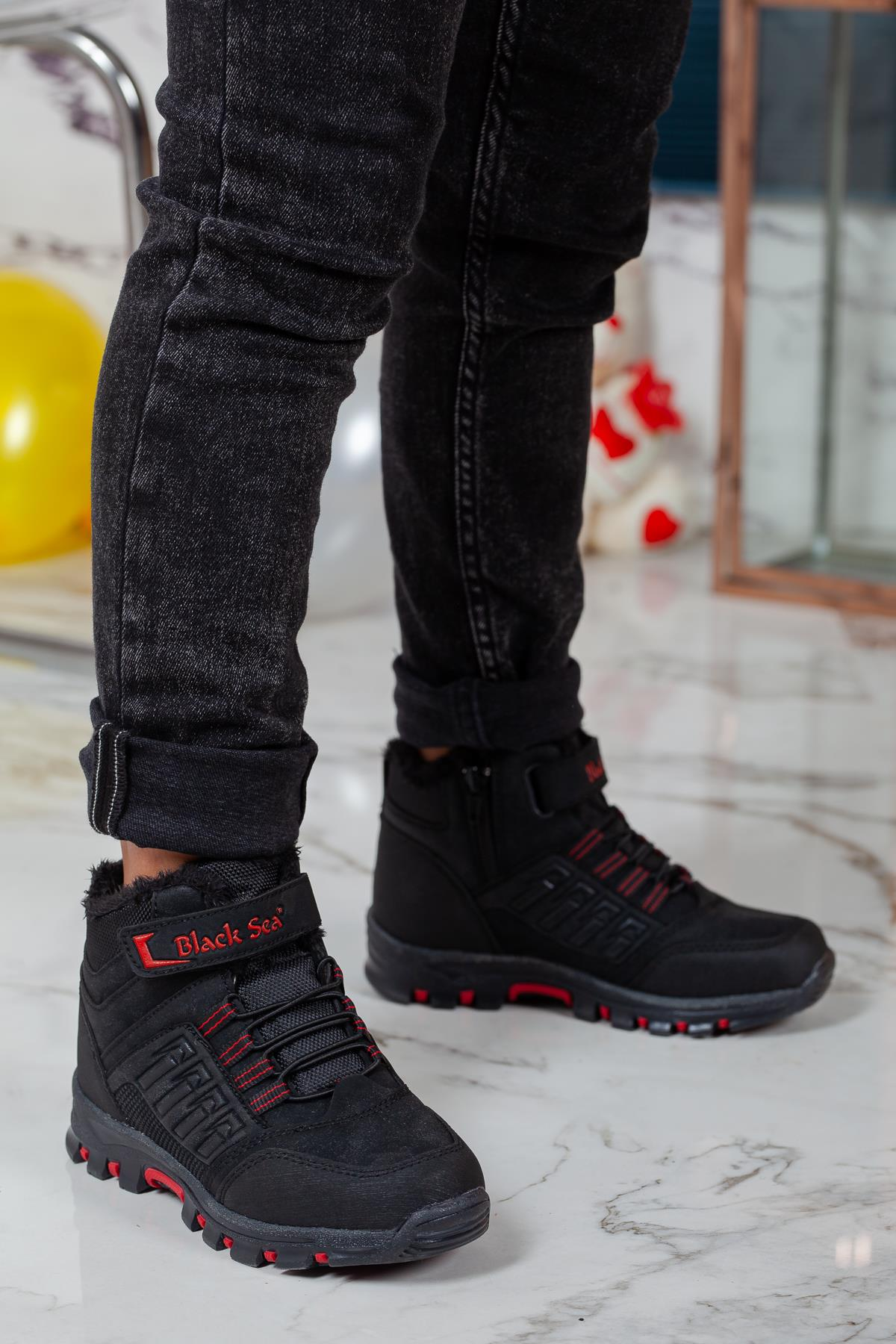 Kid's Lace-up Cold & Waterproof Black Boots