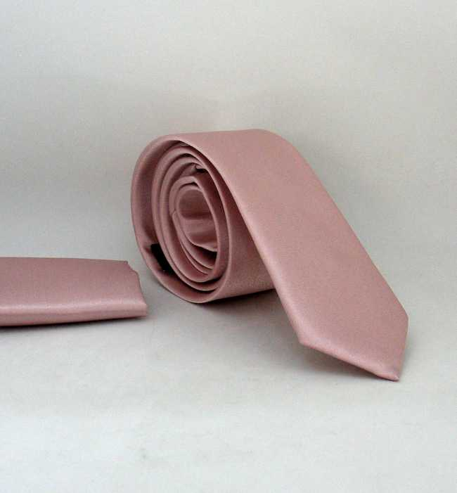 Plain Powder Rose Satin Handkerchief Slim Fit Tie