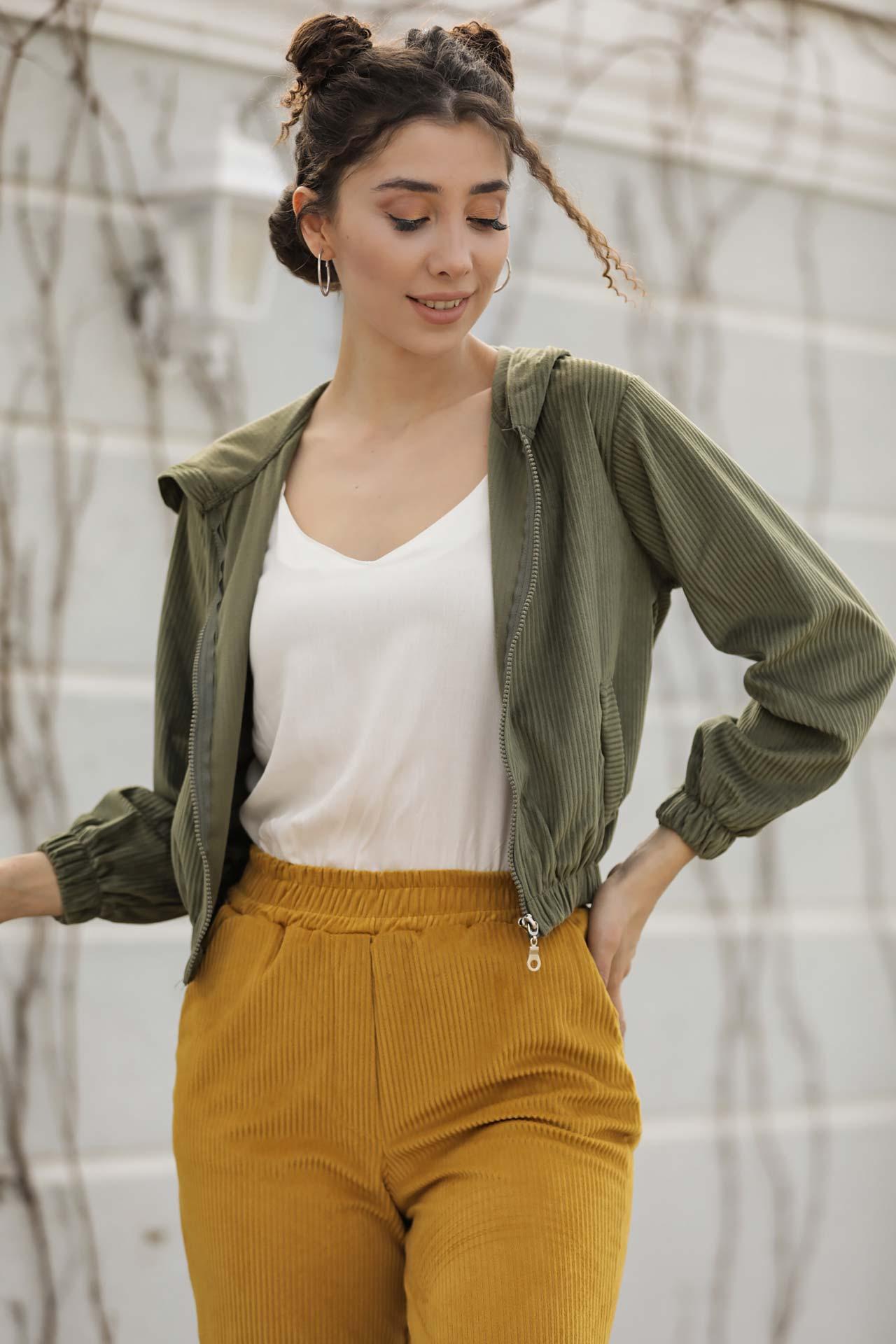Women's Hooded Khaki Velvet Jacket
