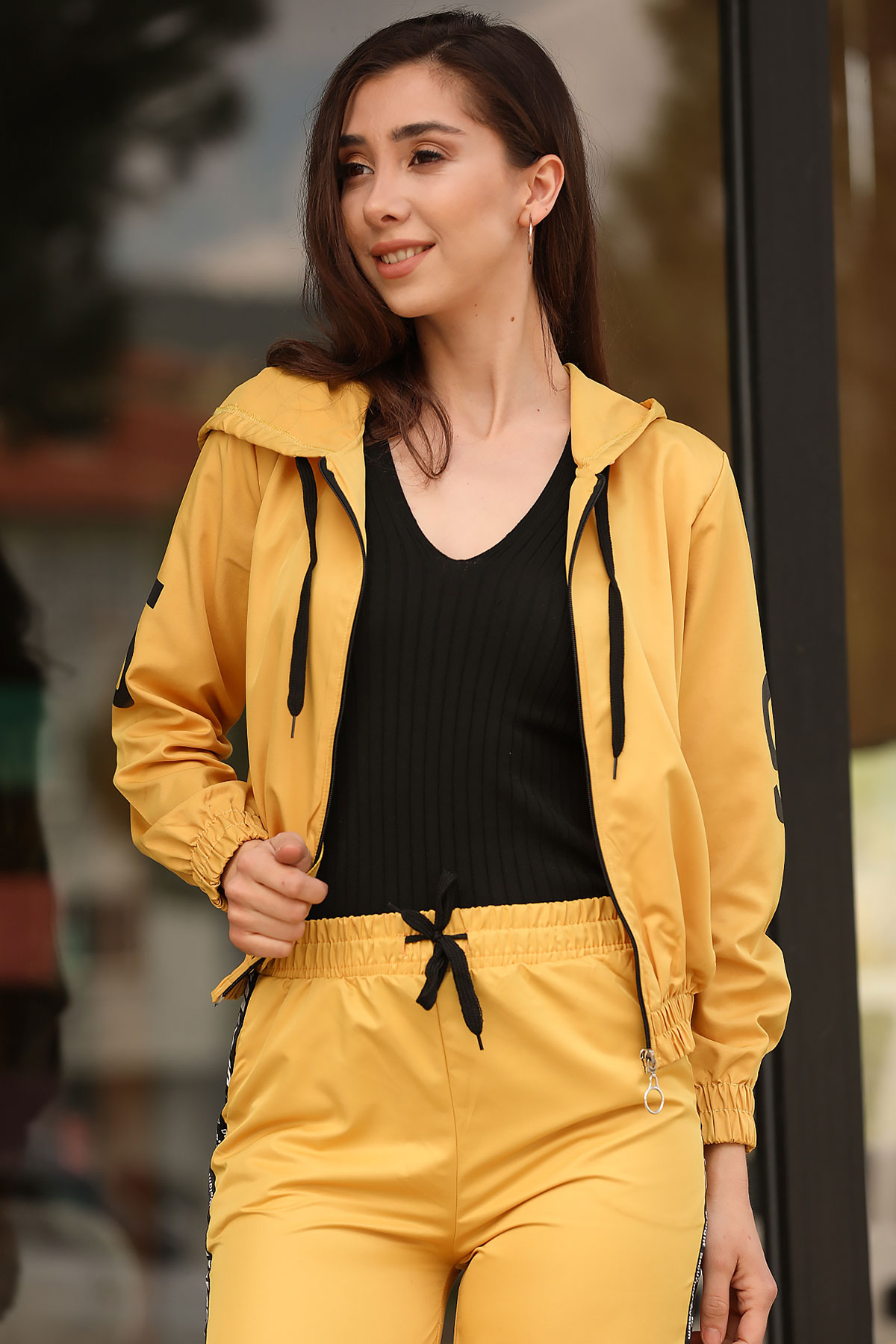 Women's Hooded Mustard Jacket