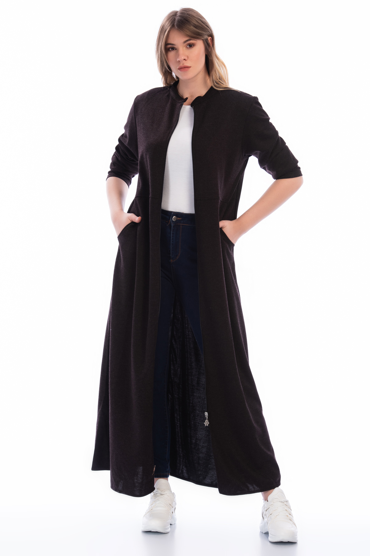 Women's Oversize Zipped Brown Topcoat