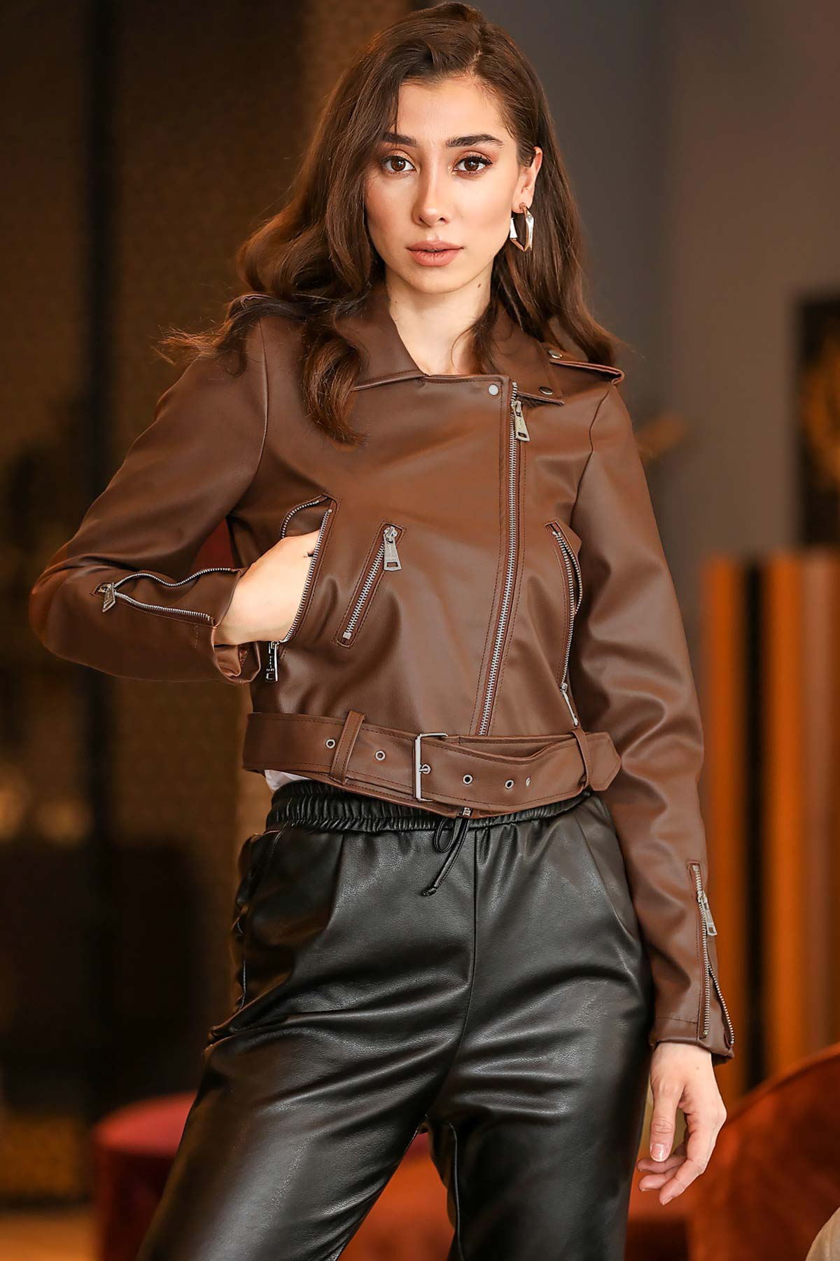Women's Belted Brown Artificial Leather Jacket