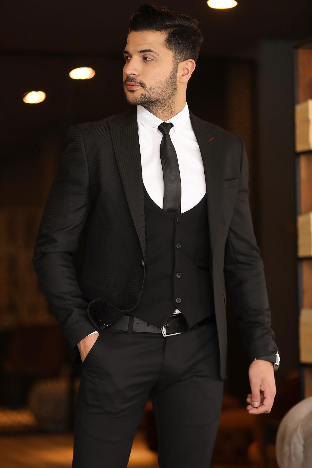 Men's Black Grizzled Blazer Jacket