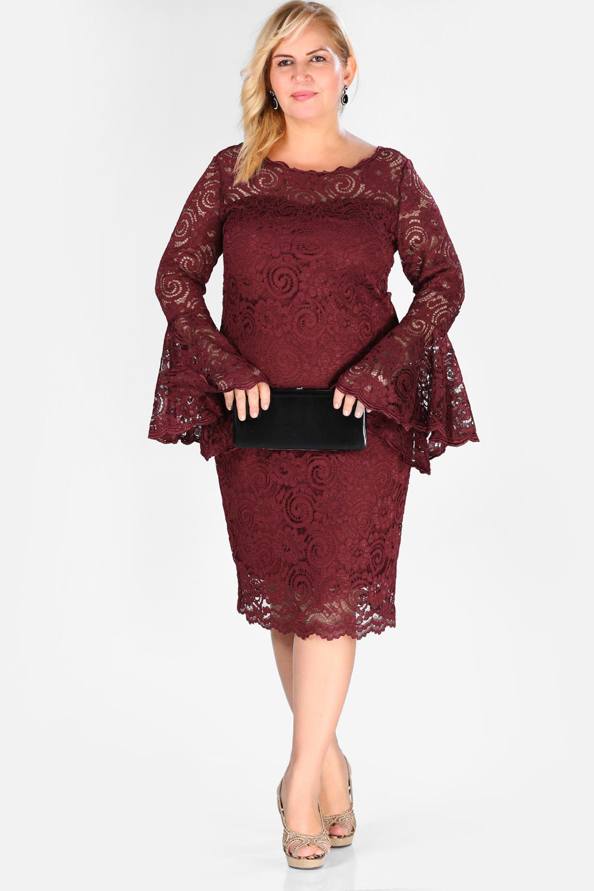Big Size Claret Red Dress