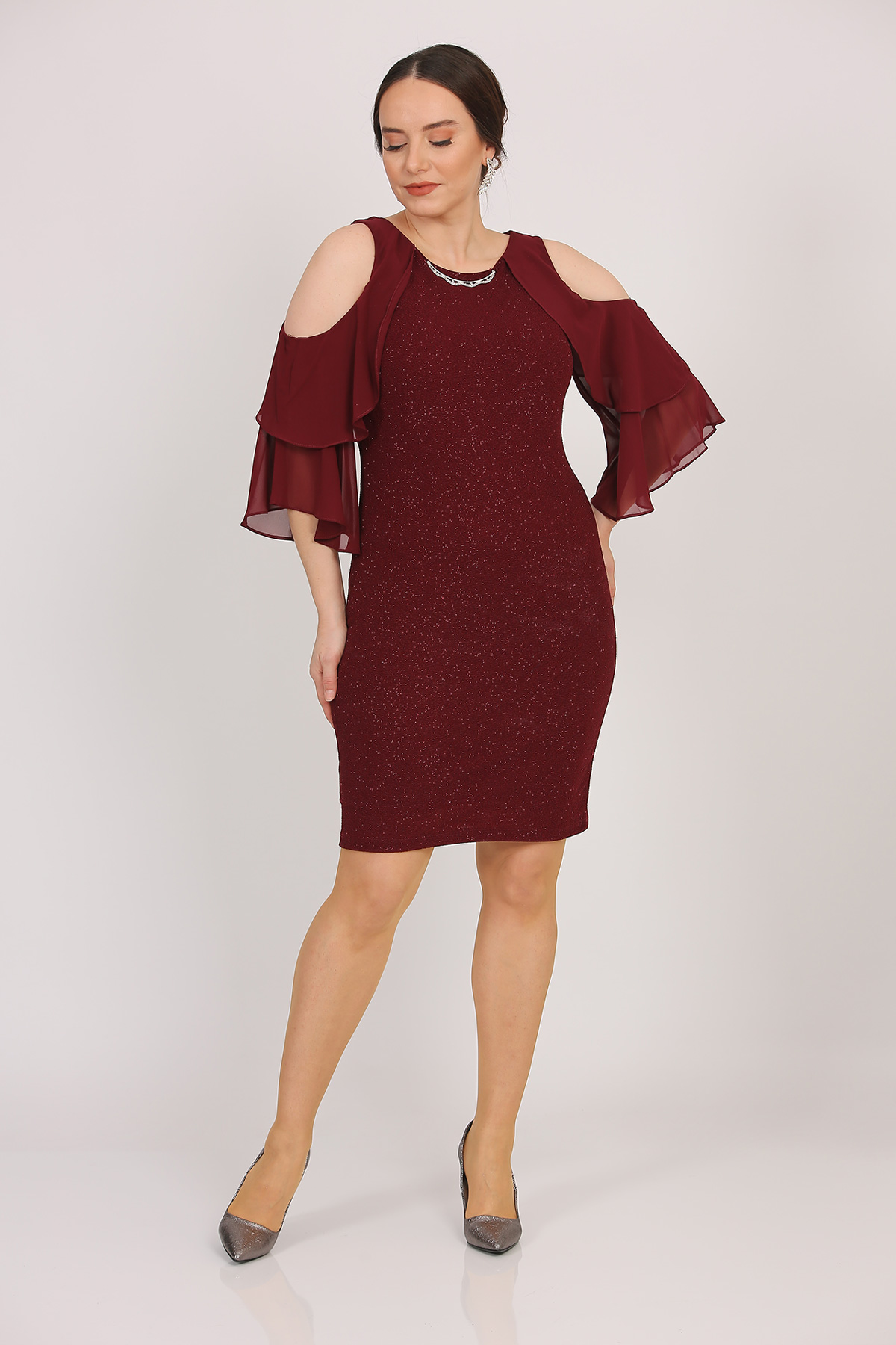 Oversize Neck Accessorised Silvery Claret Red Dress