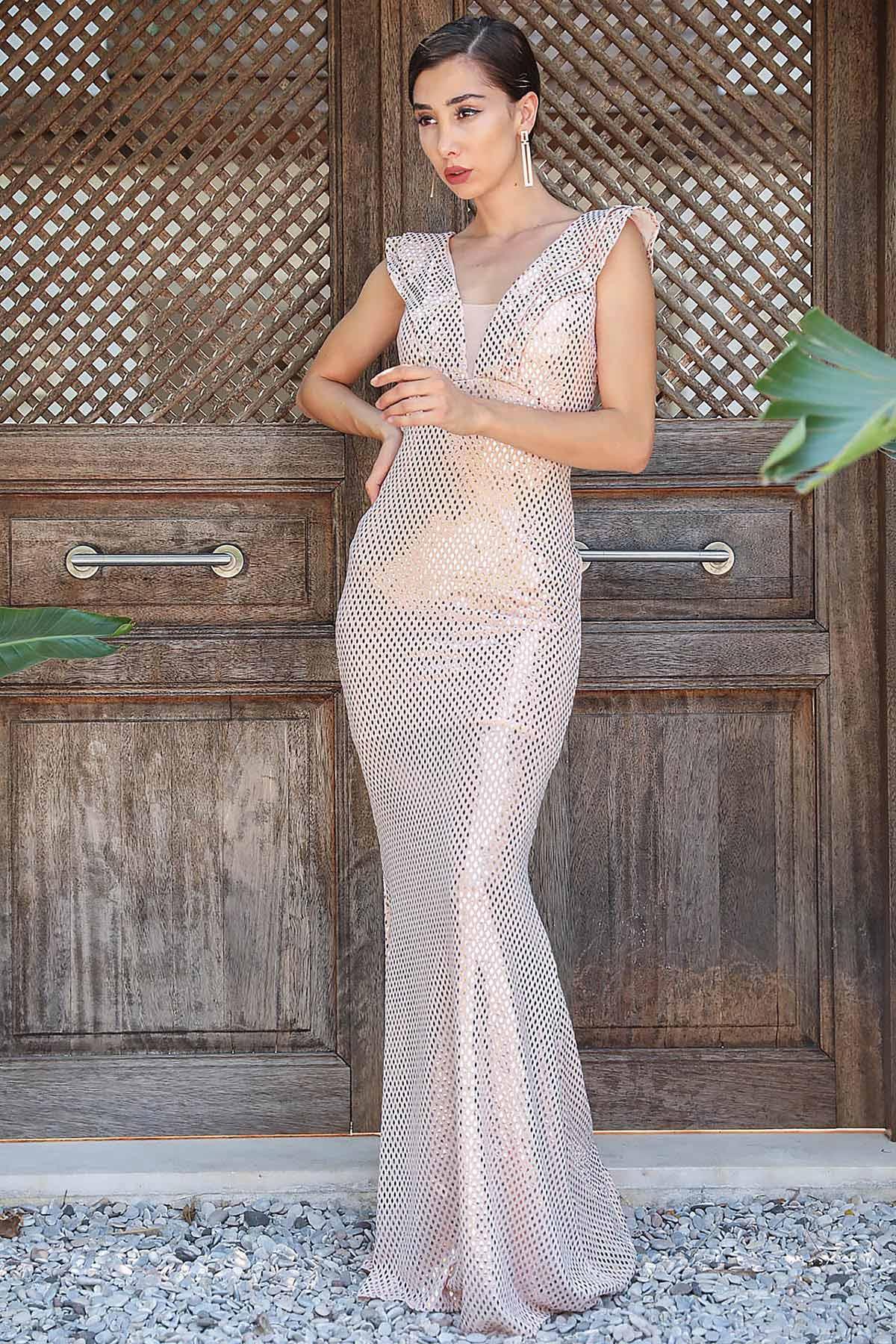 Women's Fish Model Sequin Powder Rose Evening Dress