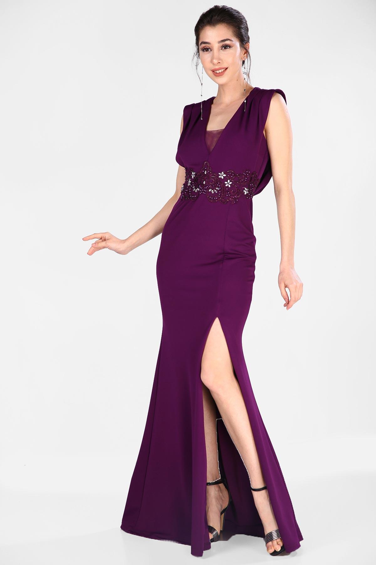 Women's Pearl Fish Model Purple Evening Dress
