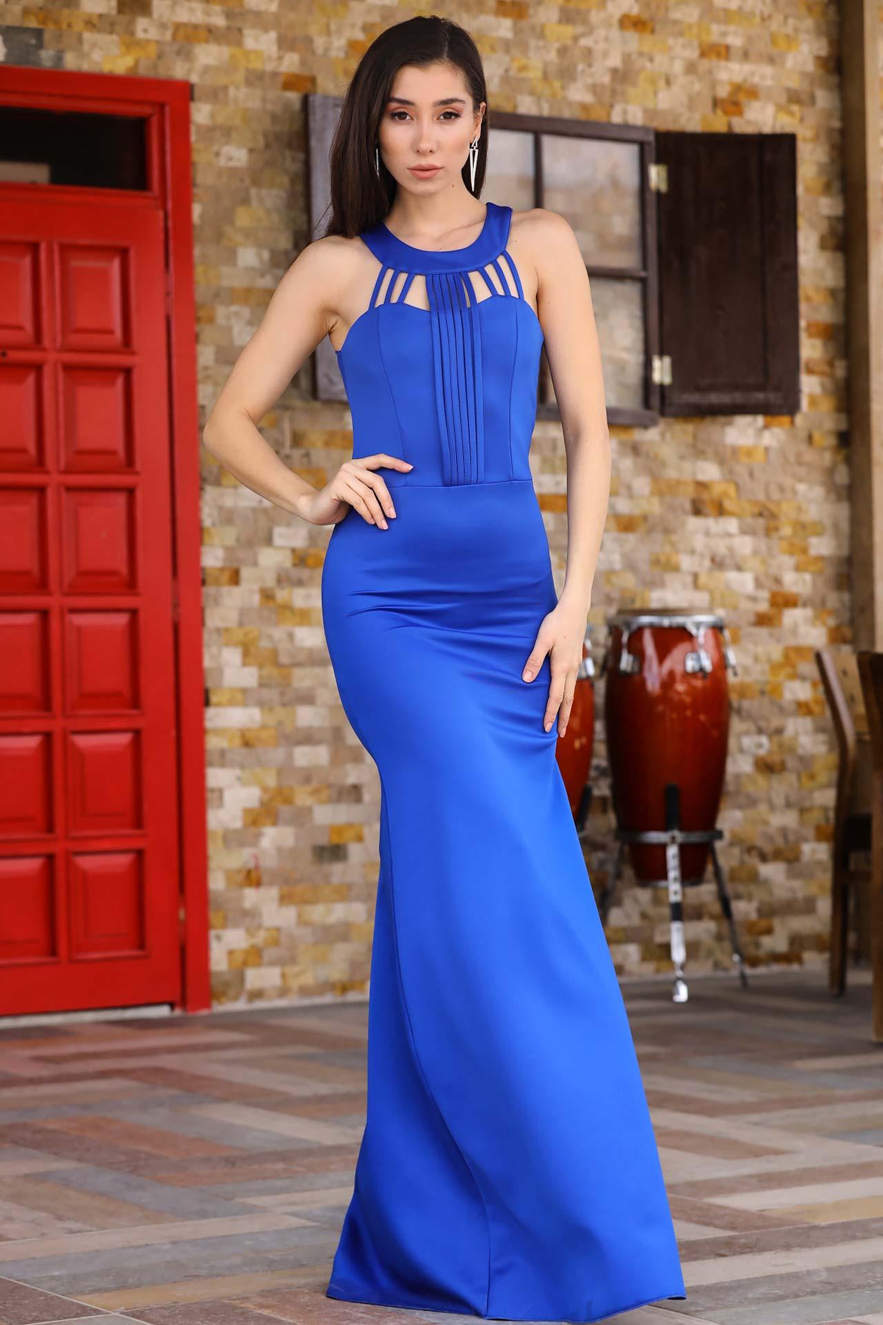 Bind Detail Saxe Evening Dress