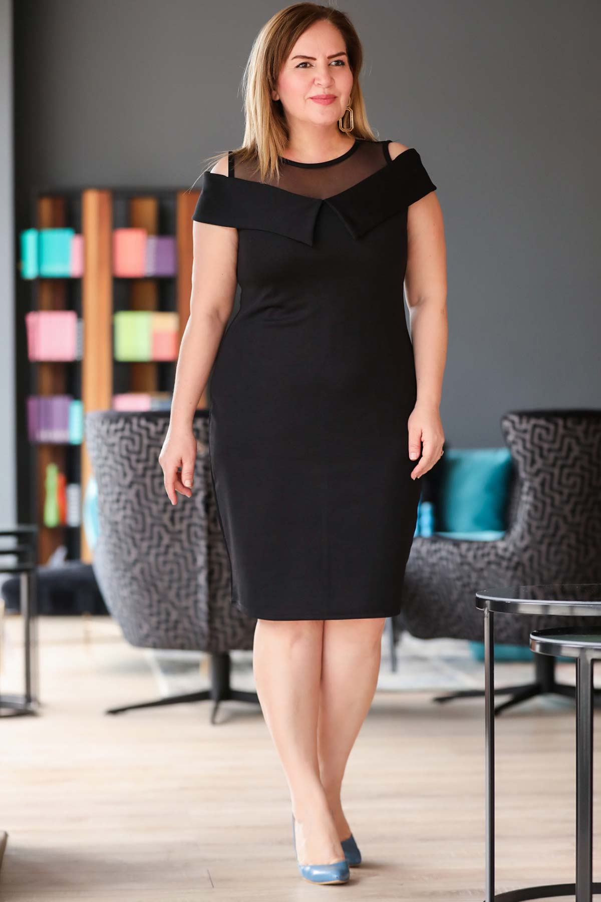 فستان أسود قصير بتول مقاس كبير نسائي