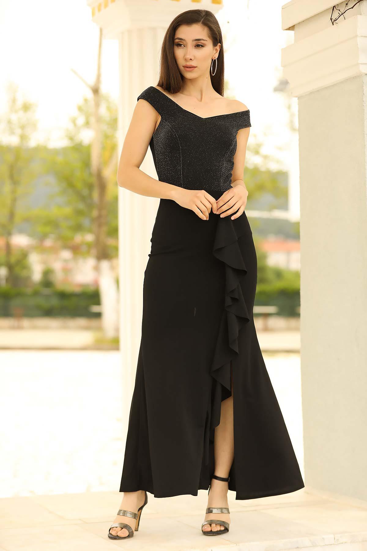فستان سهرة أسود لامع بفتحة و رقبة بدون أكتاف موديل سمكة نسائي