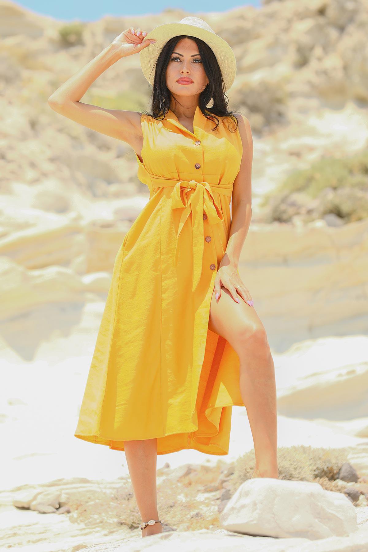 Backless Mustard Linen Dress