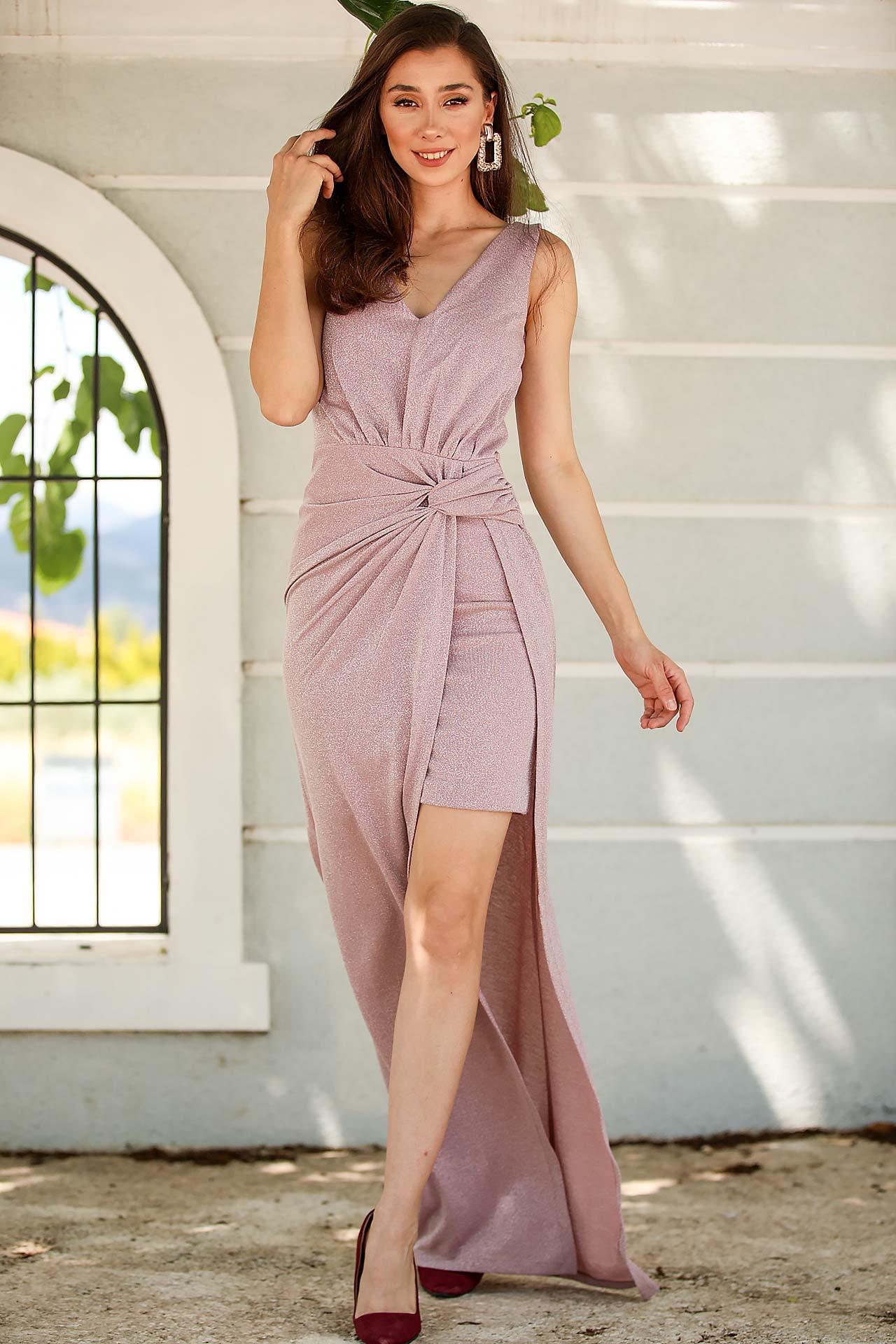 Women's Shiny Dusty Rose Evening Dress