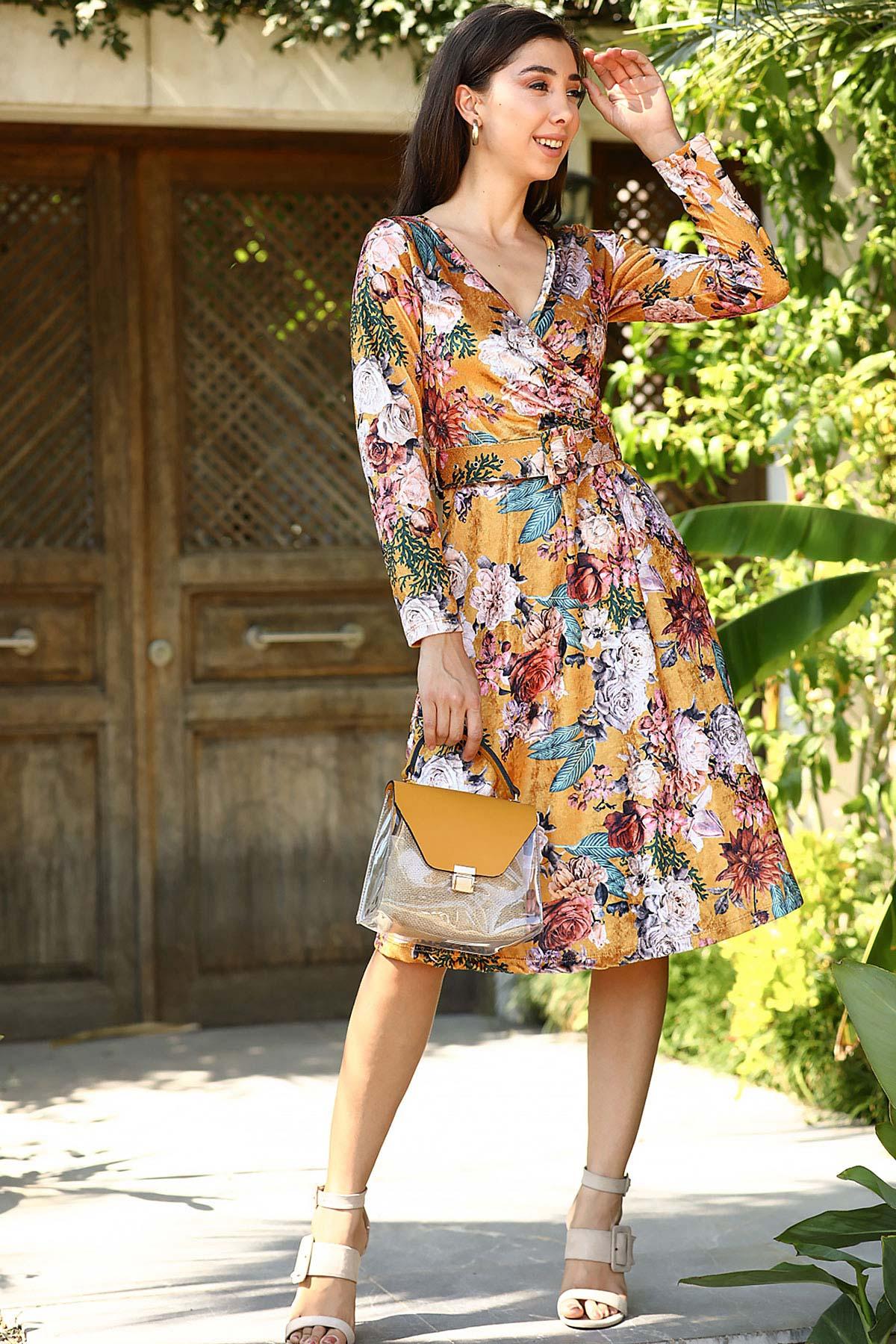 Women's Wrap Collar Patterned Mustard Velvet Midi Dress