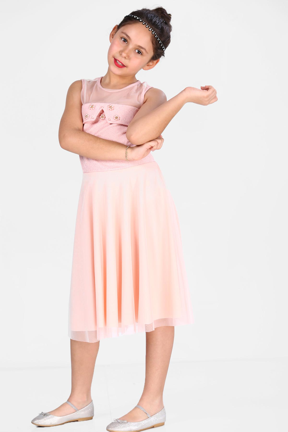 Girl's Pearled Silvery Powder Rose Evening Dress