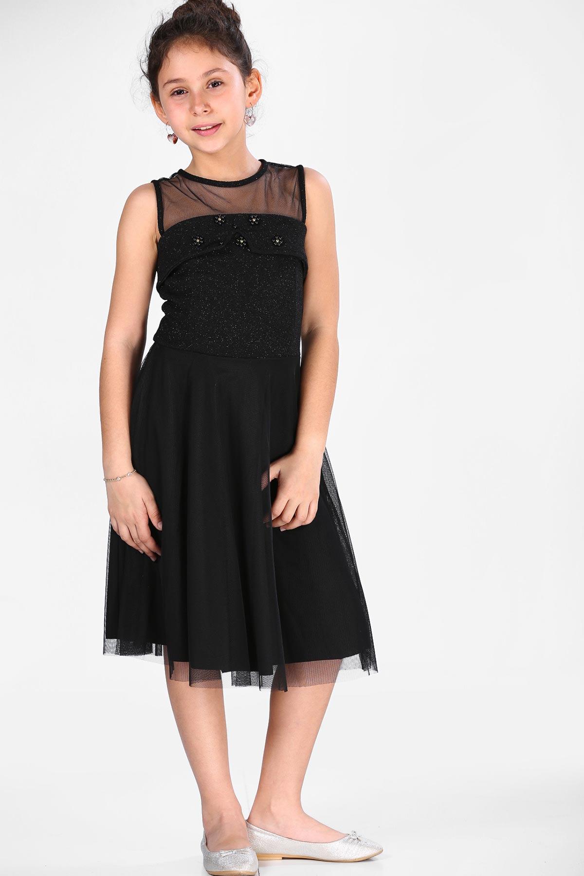 Girl's Black Tulle Dress