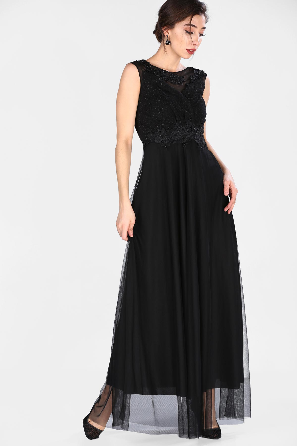 Lace Detail Black Evening Gown
