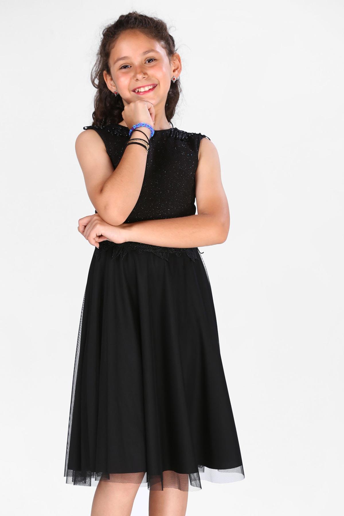 Girl's Glittery Black Dress