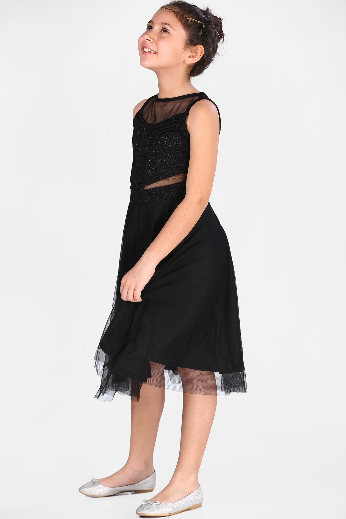 Girl's Tulle Silvery Black Evening Dress
