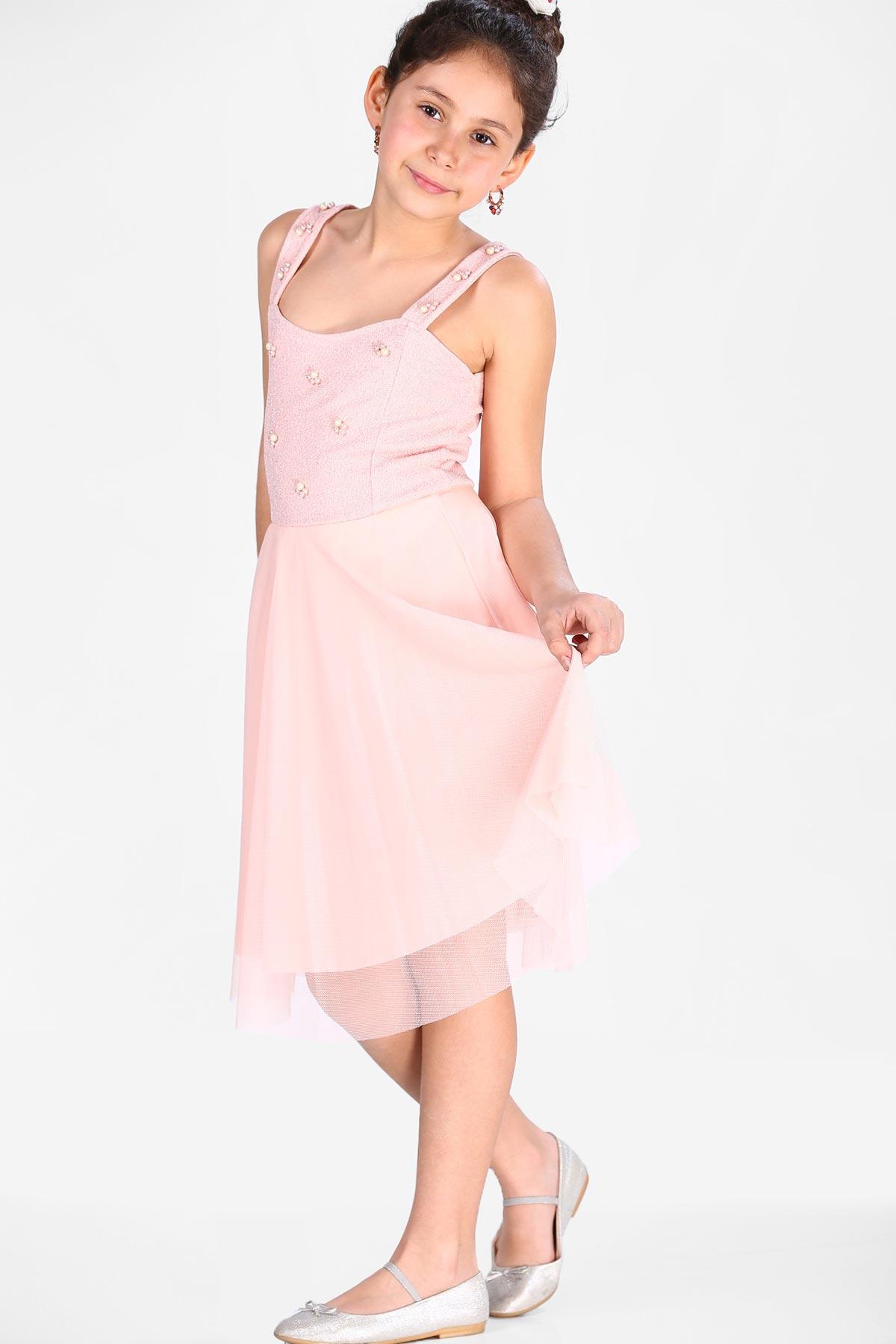 Kid's Pearled Powder Rose Dress